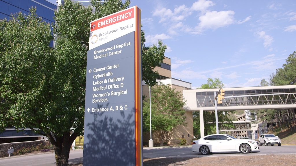 Brookwood Women's Hospital outdoor view of sign