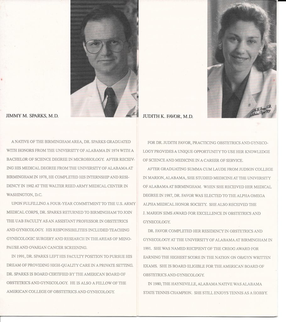first practice brochure drs. sparks and favor