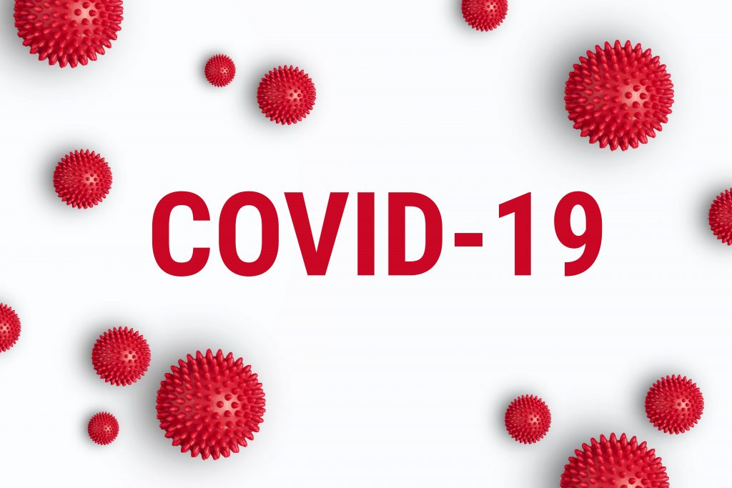 virus illustration with word COVID-19 in red