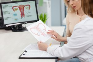 woman consulting doctor about hysterectomy
